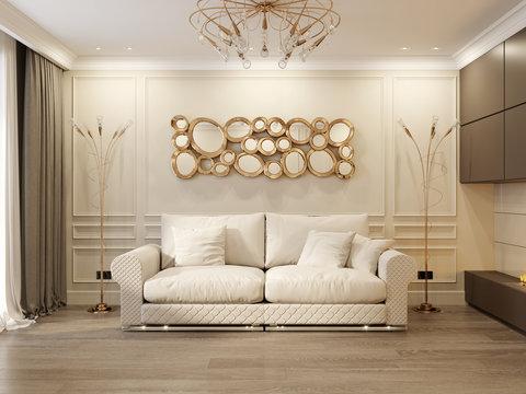 Modern Classic Beige Living Room Interior Design