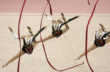 Members of the Ukraine team perform during the women's group competition in Ise