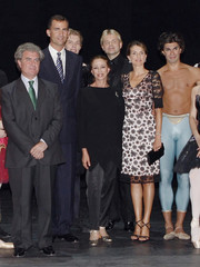 Crown Prince Felipe and Princess Letizia pose with ballerina Plisetskaya and Spain's Culture Minister Molina in Madrid