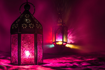 Eid Mubarak Ramadan Kareem - islamic muslim holiday background with eid lantern or lamp