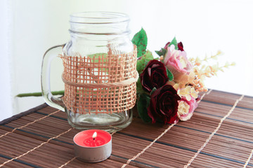 romantic candle stick with beautiful flower decoration.