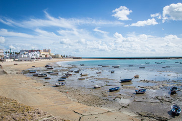 Low tide at the beach in Cadiz, Spain