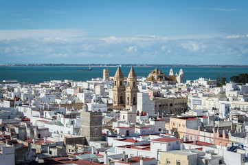 Panoramic Old town in Cadiz on a sunny day in March 2017, Andalusia, Spain