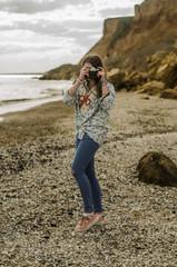 free happy teenager near sea