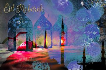 Eid Mubarak Ramadan Kareem greeting - islamic muslim holiday background with eid lantern or lamp