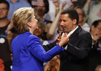 US Democratic presidential candidate Senator Clinton greets New York Gov. Paterson at her rally in New York