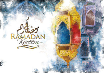 Ramadan Kareem Eid Mubarak greeting - Islamic muslim holiday Ramadan Eid background with eid lanterns or lamps