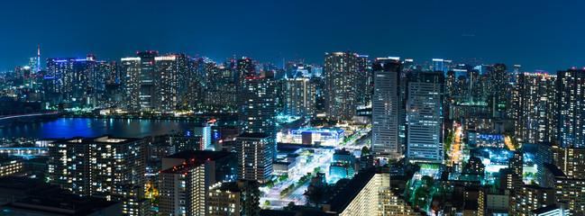 City skyline panorama at night