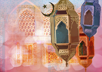 Ramadan Kareem Eid Mubarak greeting - Islamic muslim holiday Ramadan Eid background with eid lanterns or lamps and arabic oriental windows