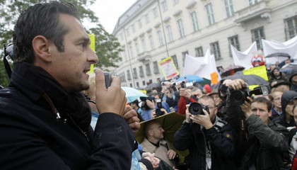 Austrian Freedom party leader Strache delivers speech during protest against mosque in Vienna