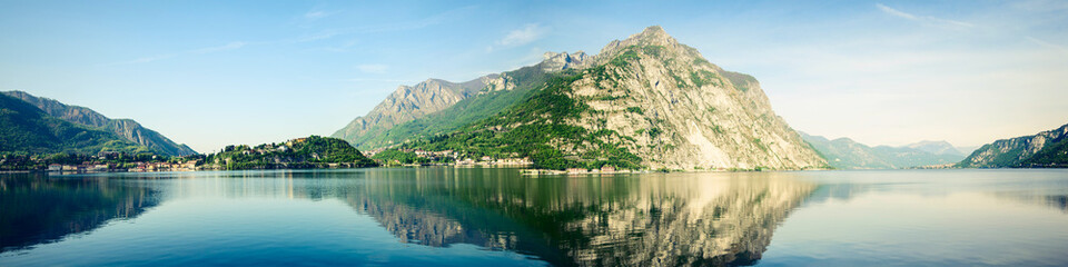 Como Lake panoramic view - green Bellagio peninsula and Crocione mount - Lombardia Italy