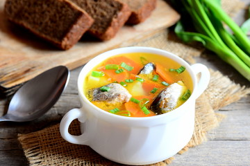 Easy and delicious fish soup recipe. Wholesome fish soup with potatoes, carrots and green onions in a bowl. Rye bread pieces, spoon, fresh green onions on rustic wooden table. Closeup