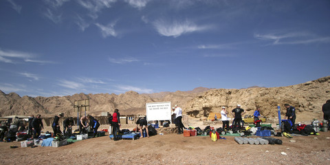 Divers prepare at the Canyon dive site in the Egyptian Sinai