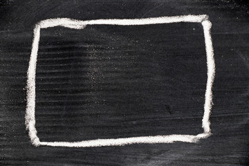 Blank square shape draw by chalk on black board background