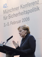 German Chancellor Angela Merkel gives a speech at the Conference on Security Policy in Munich