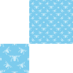 Seamless pattern of white quadrocopters on the light blue background with pattern unit.