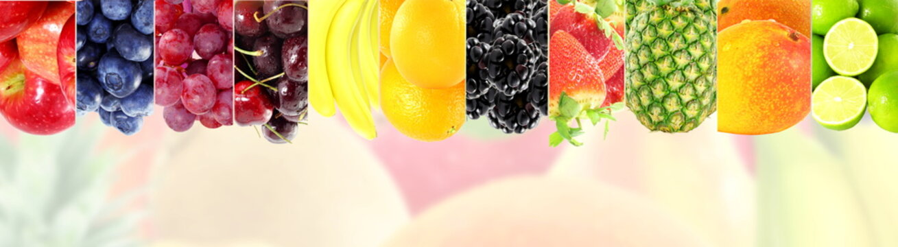 Fruit frame border on bluer background Healthy eating and dieting food concept with space for text