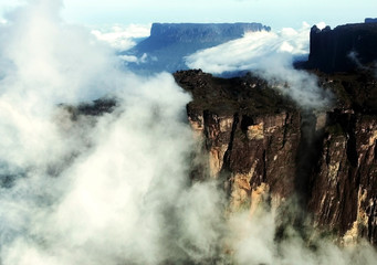 An aerial view shows Roraima Tepuy at Canaima National Park.
