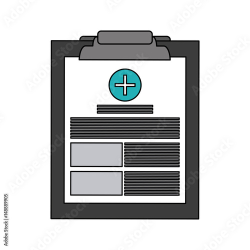 color graphic table notepad medical with sheets and text vector