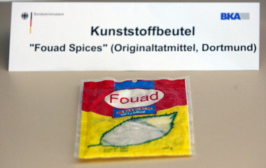 Picture shows a bag with spices during a presentation of explosive devices found in German regional trains at the headquarters of the German federal police in Wiesbaden