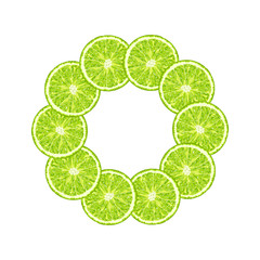 Vector round frame of lime slice. Citrus lime frame with copy space