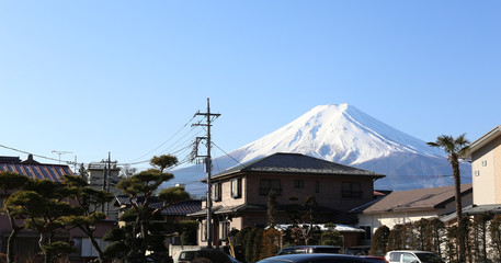 Fuji mountain and residents of people around Fujiyoshida, copy space on the left