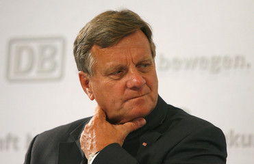 German railway Deutsche Bahn AG CEO Mehdorn presents the company's first-half results during a news conference in Frankfurt