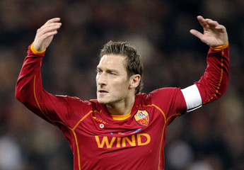 AS Roma's Totti reacts during their Champions League soccer match against Arsenal in Rome
