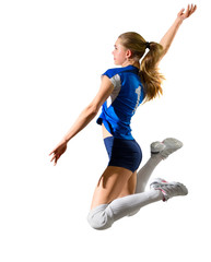Young girl volleyball player (without ball)