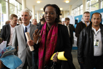 French Junior Minister for Youth and Sports Rama Yade arrives at the MEDEF summer forum on the campus of the HEC School of Management in Jouy-en-Josas