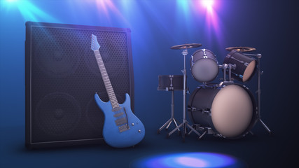 Blue electric guitar with a large combo and drum set 3d illustration