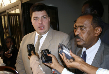 Russian Envoy to Sudan Margelov speaks to media after meeting Sudanese Foreign Minister Alor in Khartoum