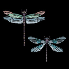 Vector vintage dragonfly or butterfly, decorative element for embroidery, patches and stickers