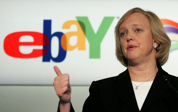 Online auction company EBay's ceo Whitman addresses news conference in Brussels