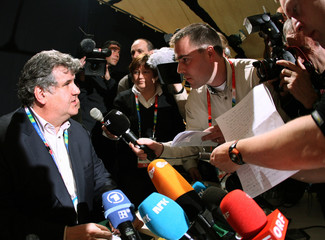 Austrian Olympic Committee Secretary General Jungwirth answers questions during a press conference in Sestiere