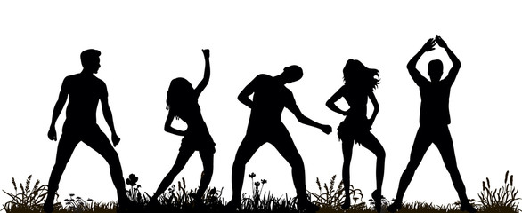 isolated silhouette of people dancing
