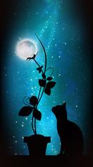 Moon flower silhouette art photo manipulation