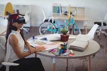 Businesswoman using virtual reality technology