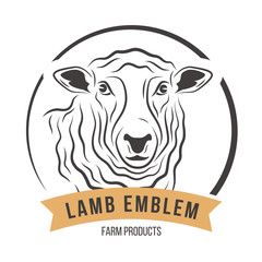Lamb head silhouette emblem logo label. Vector illustration.