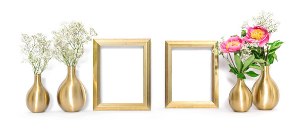 Front view mock up golden picture frame flowers Minimal style