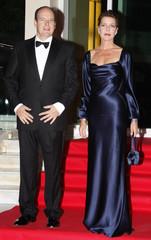 Prince Albert of Monaco and his sister Princess Caroline of Hanover arrive for the gala dinner of the Cinema et Verite Festival in Monte Carlo