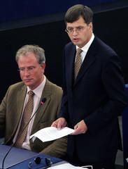 Dutch Prime Minister Balkenende addresses the European Parliament in Strasbourg.