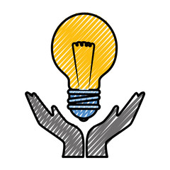 hands with bulb light icon over white background. vector illustration