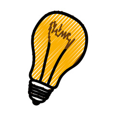 yellow bulb light icon over white background. vector illustration