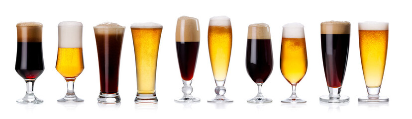 set of mugs and glasses with light and dark beer isolated on white.
