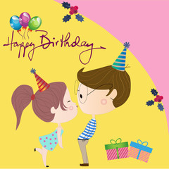 boy and girl greeting card birthday