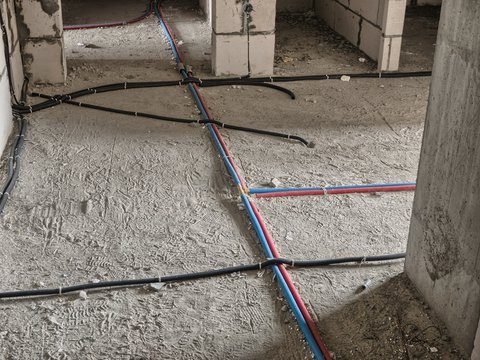 Electrical wiring on the floor