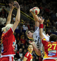 Germany's Jurack tries to score against Macedonia's Noevska in Skopje