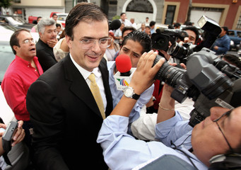 Marcelo Ebrard arrives a private meeting with Andres Manuel Lopez Obrador in Mexico City