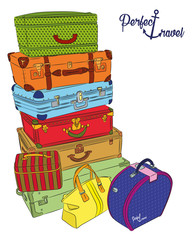 Postcard with luggage for perfect travel